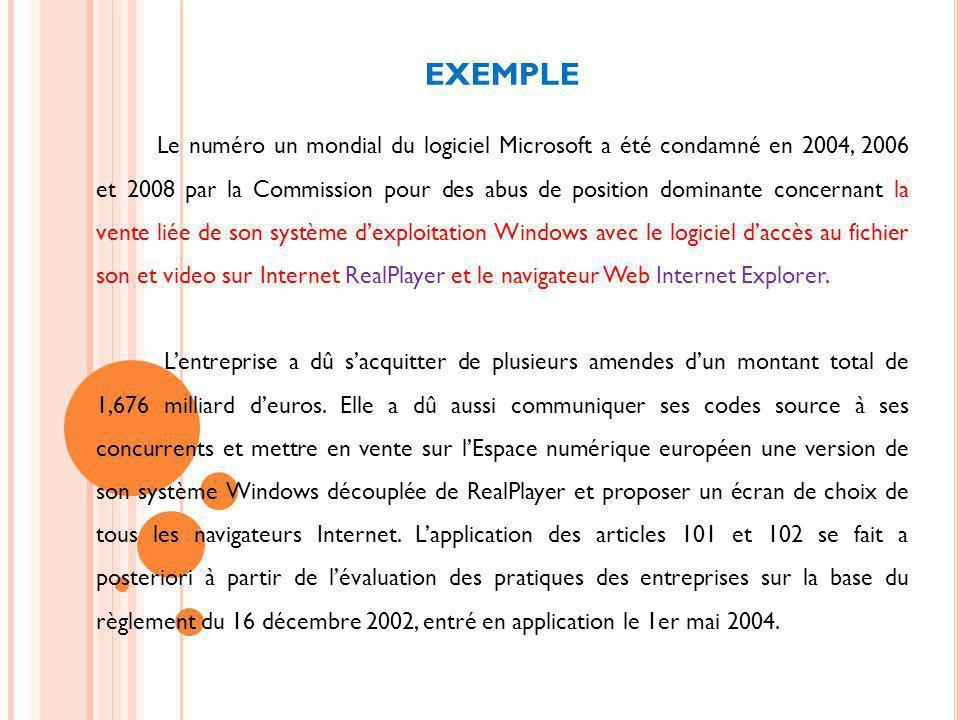 EXEMPLE Le numéro un mondial du logiciel Microsoft a été condamné en 2004, 2006 et 2008 par la Commission pour des abus de position dominante concernant la vente liée de son système dexploitation Windows avec le logiciel daccès au fichier son et video sur Internet RealPlayer et le navigateur Web Internet Explorer.