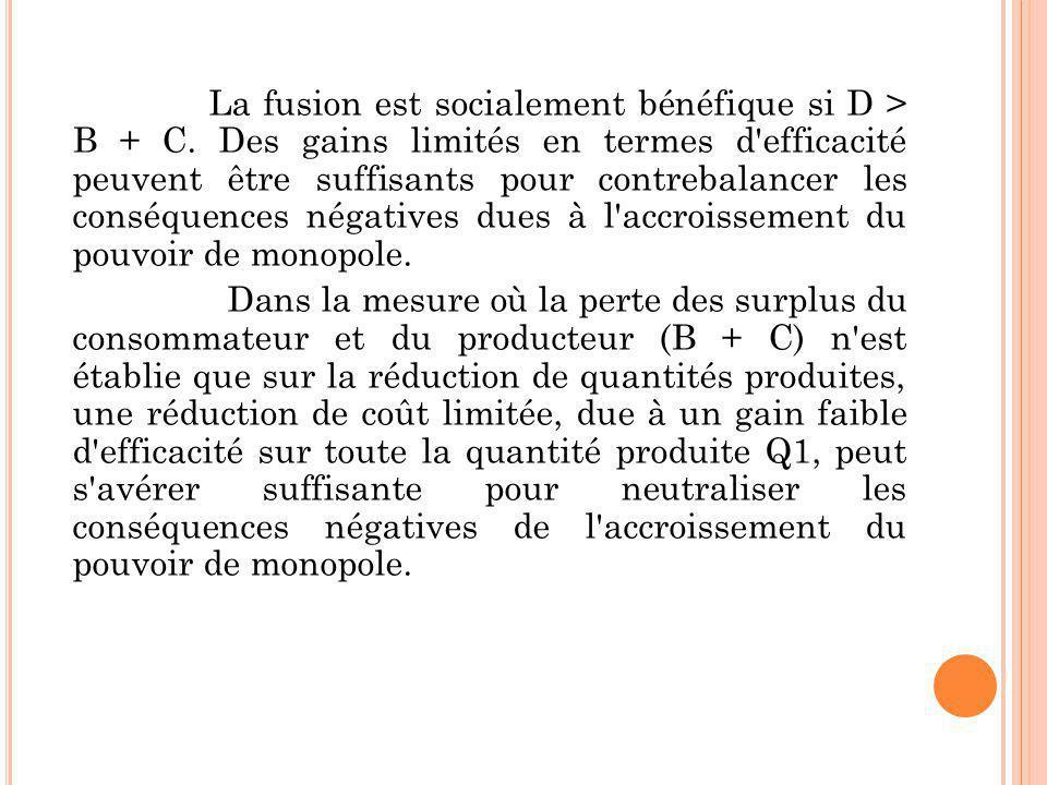 La fusion est socialement bénéfique si D > B + C. Des gains limités en termes d'efficacité peuvent être suffisants pour contrebalancer les conséquence