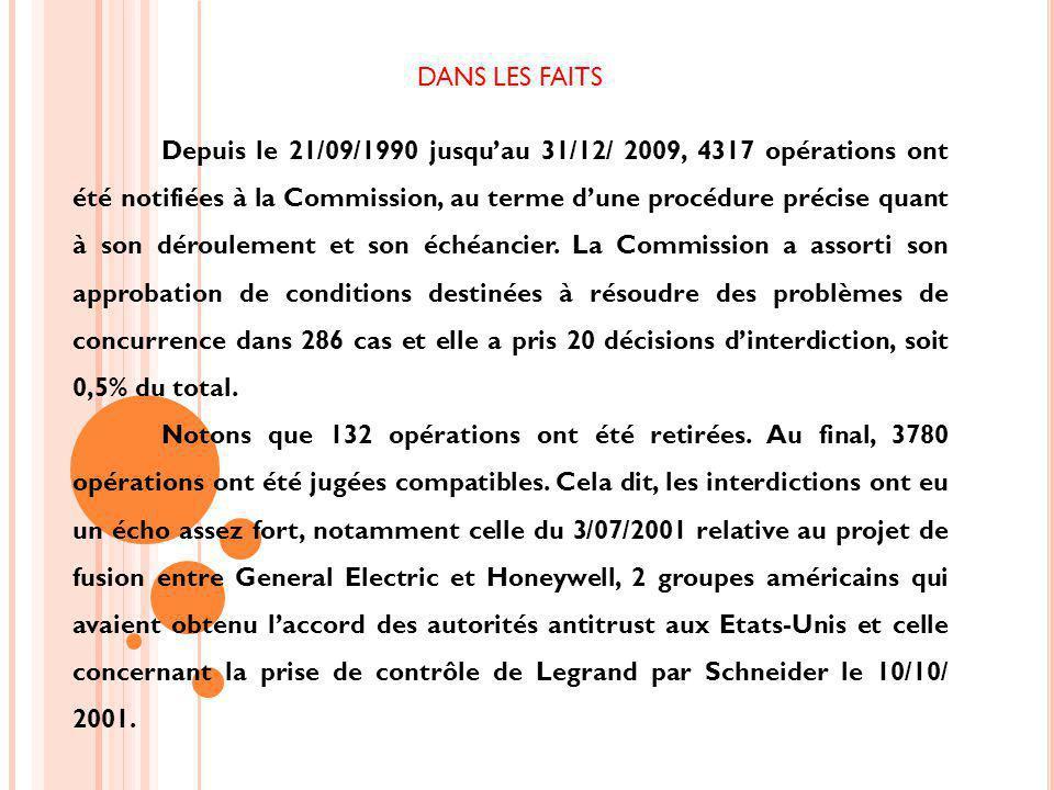 DANS LES FAITS Depuis le 21/09/1990 jusquau 31/12/ 2009, 4317 opérations ont été notifiées à la Commission, au terme dune procédure précise quant à son déroulement et son échéancier.