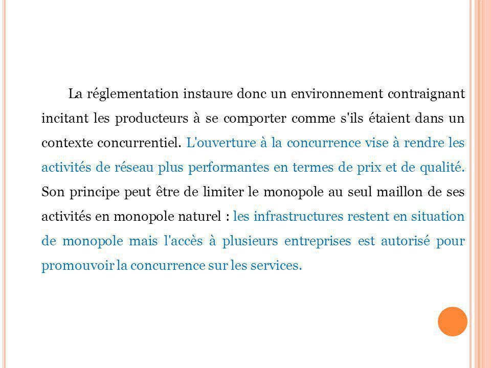La réglementation instaure donc un environnement contraignant incitant les producteurs à se comporter comme s ils étaient dans un contexte concurrentiel.