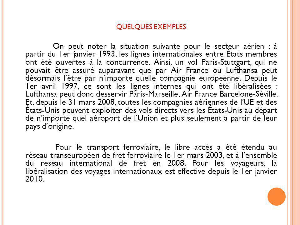 QUELQUES EXEMPLES On peut noter la situation suivante pour le secteur aérien : à partir du 1er janvier 1993, les lignes internationales entre États membres ont été ouvertes à la concurrence.