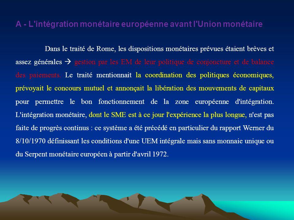 A - L'intégration monétaire européenne avant l'Union monétaire Dans le traité de Rome, les dispositions monétaires prévues étaient brèves et assez gén