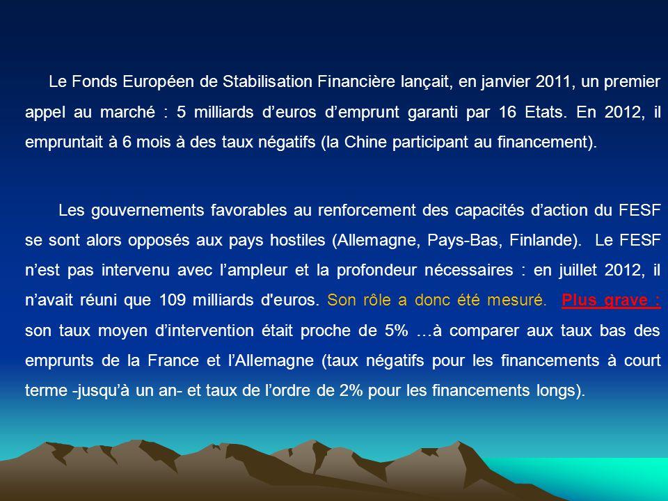 Le Fonds Européen de Stabilisation Financière lançait, en janvier 2011, un premier appel au marché : 5 milliards deuros demprunt garanti par 16 Etats.