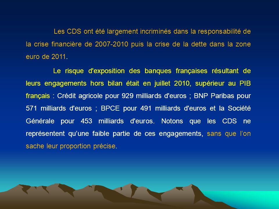 Les CDS ont été largement incriminés dans la responsabilité de la crise financière de 2007-2010 puis la crise de la dette dans la zone euro de 2011. L