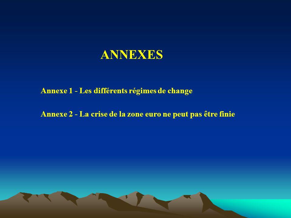 ANNEXES Annexe 1 - Les différents régimes de change Annexe 2 - La crise de la zone euro ne peut pas être finie