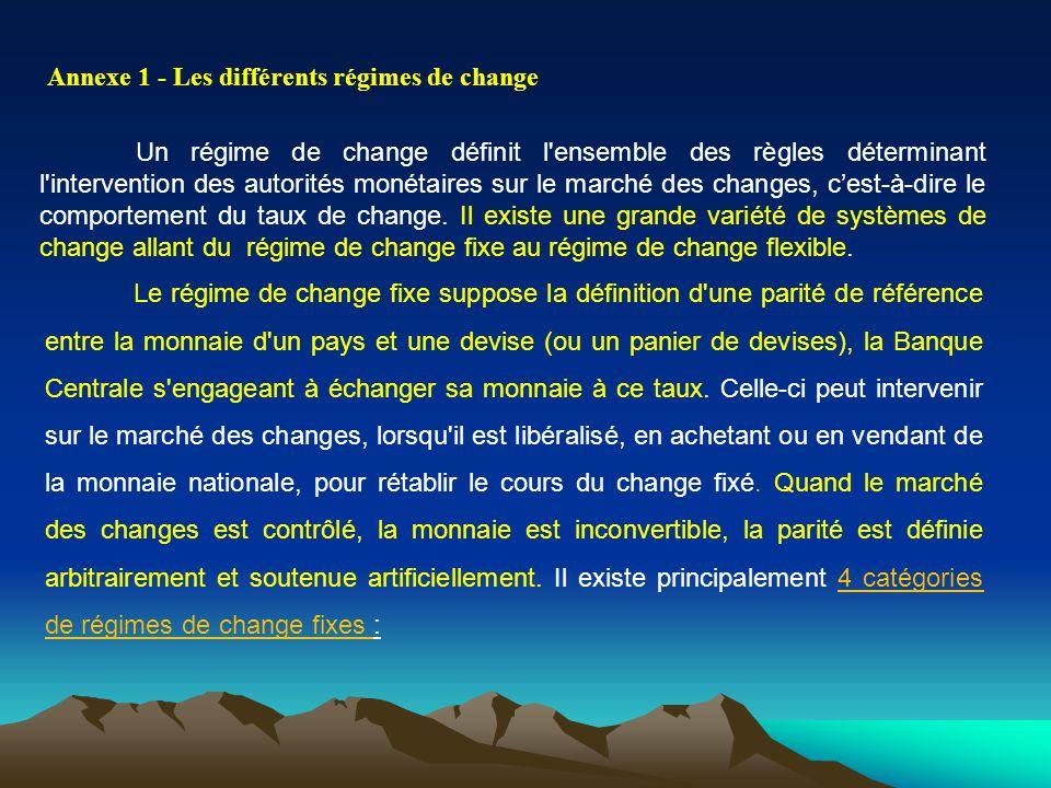 Annexe 1 - Les différents régimes de change Un régime de change définit l'ensemble des règles déterminant l'intervention des autorités monétaires sur