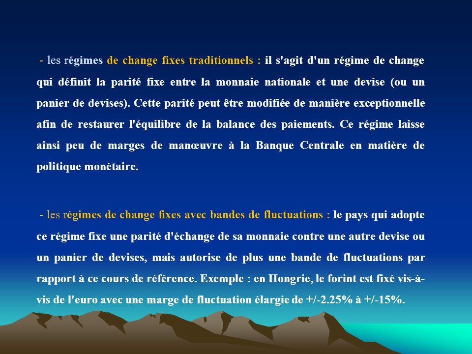 - les régimes de change fixes traditionnels : il s'agit d'un régime de change qui définit la parité fixe entre la monnaie nationale et une devise (ou