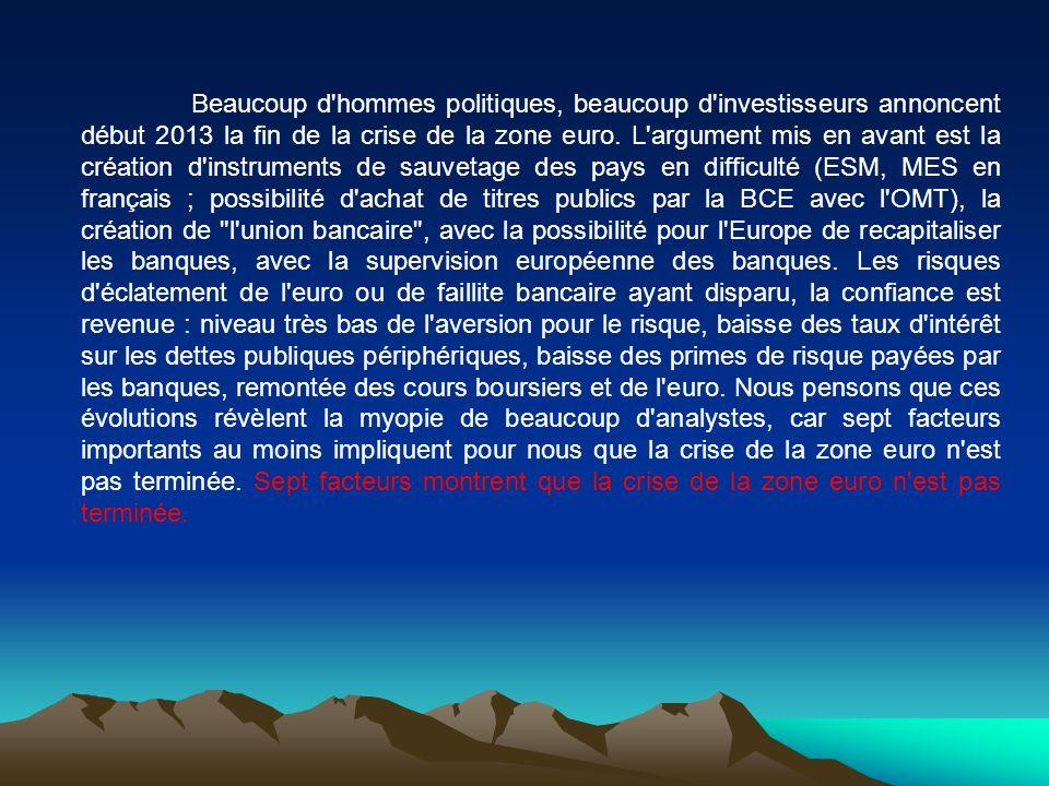 Beaucoup d'hommes politiques, beaucoup d'investisseurs annoncent début 2013 la fin de la crise de la zone euro. L'argument mis en avant est la créatio