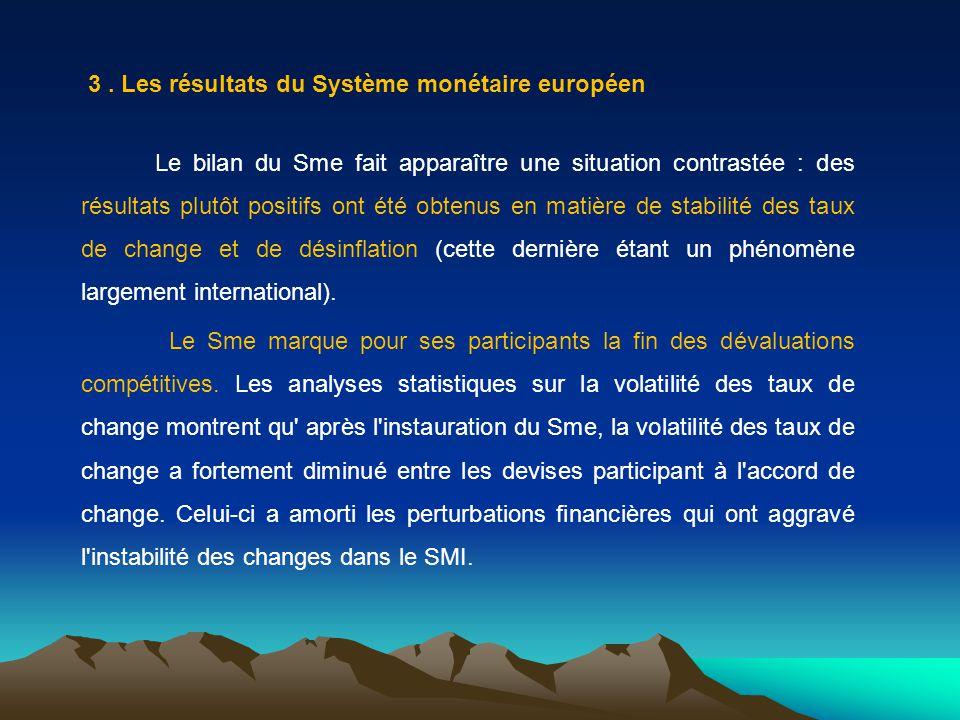 3. Les résultats du Système monétaire européen Le bilan du Sme fait apparaître une situation contrastée : des résultats plutôt positifs ont été obtenu