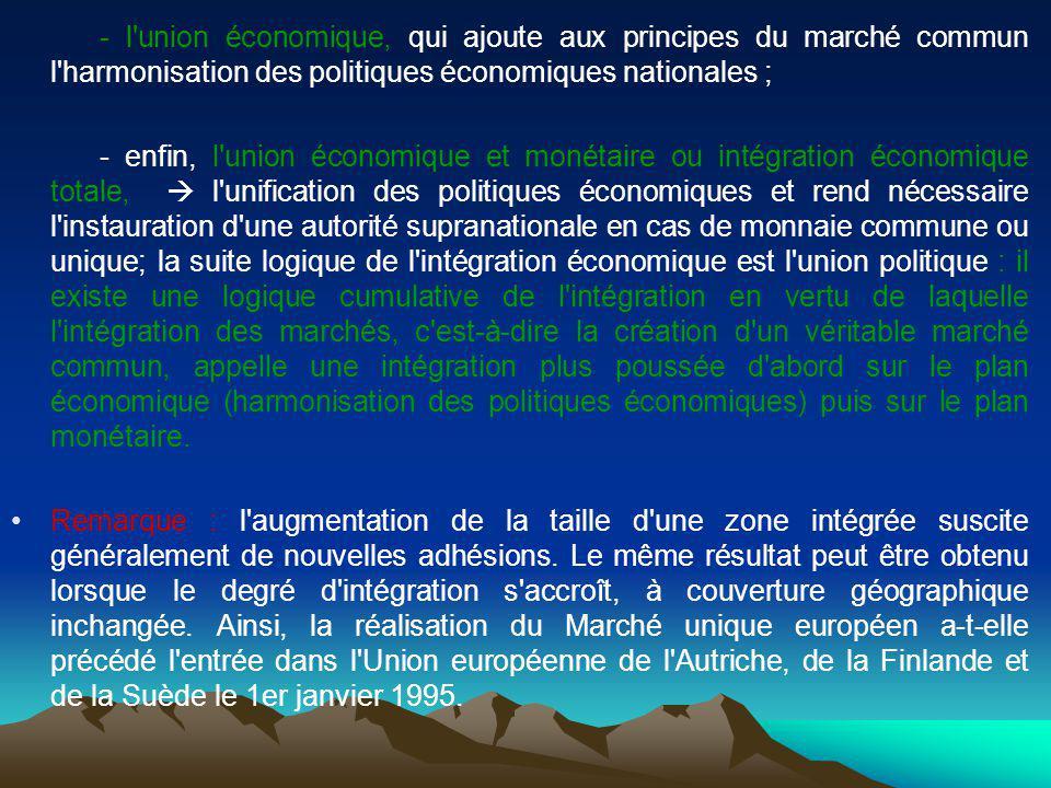 - l union économique, qui ajoute aux principes du marché commun l harmonisation des politiques économiques nationales ; - enfin, l union économique et monétaire ou intégration économique totale, l unification des politiques économiques et rend nécessaire l instauration d une autorité supranationale en cas de monnaie commune ou unique; la suite logique de l intégration économique est l union politique : il existe une logique cumulative de l intégration en vertu de laquelle l intégration des marchés, c est-à-dire la création d un véritable marché commun, appelle une intégration plus poussée d abord sur le plan économique (harmonisation des politiques économiques) puis sur le plan monétaire.