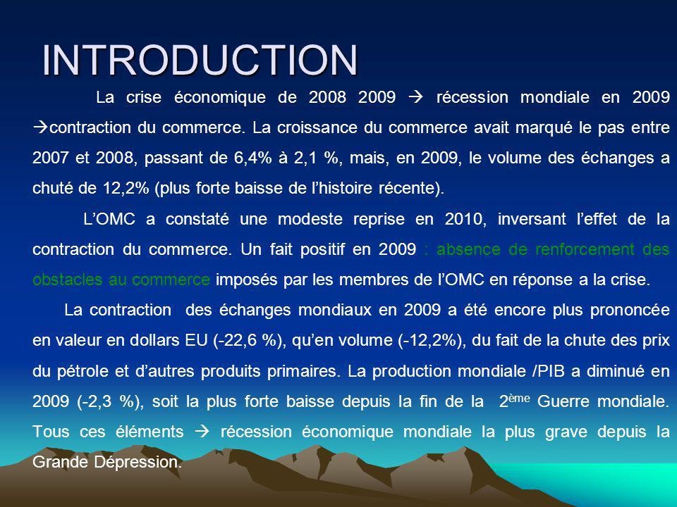 INTRODUCTION La crise économique de 2008 2009 récession mondiale en 2009 contraction du commerce.