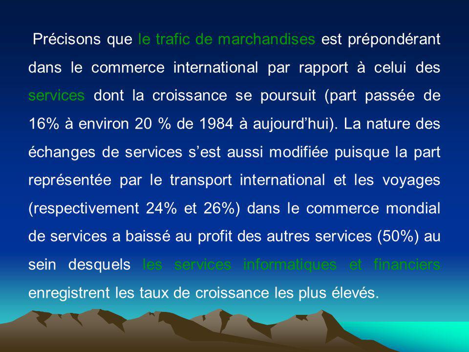 Précisons que le trafic de marchandises est prépondérant dans le commerce international par rapport à celui des services dont la croissance se poursuit (part passée de 16% à environ 20 % de 1984 à aujourdhui).