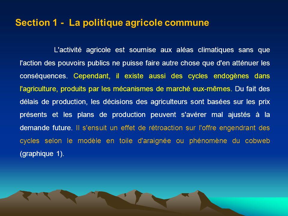 Section 1 - La politique agricole commune L'activité agricole est soumise aux aléas climatiques sans que l'action des pouvoirs publics ne puisse faire