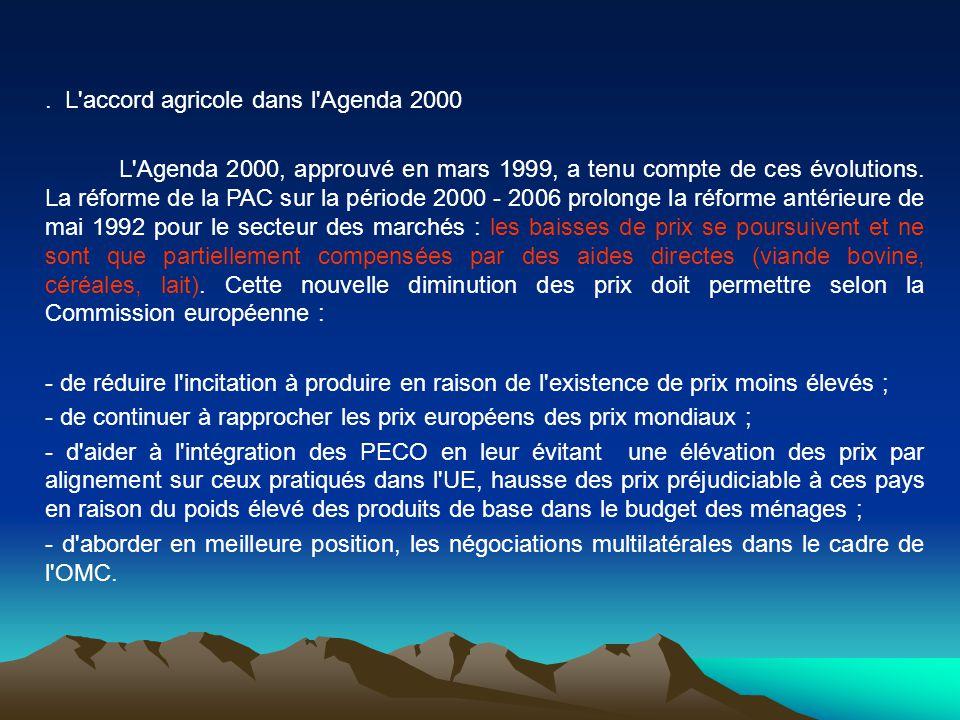 . L'accord agricole dans l'Agenda 2000 L'Agenda 2000, approuvé en mars 1999, a tenu compte de ces évolutions. La réforme de la PAC sur la période 2000