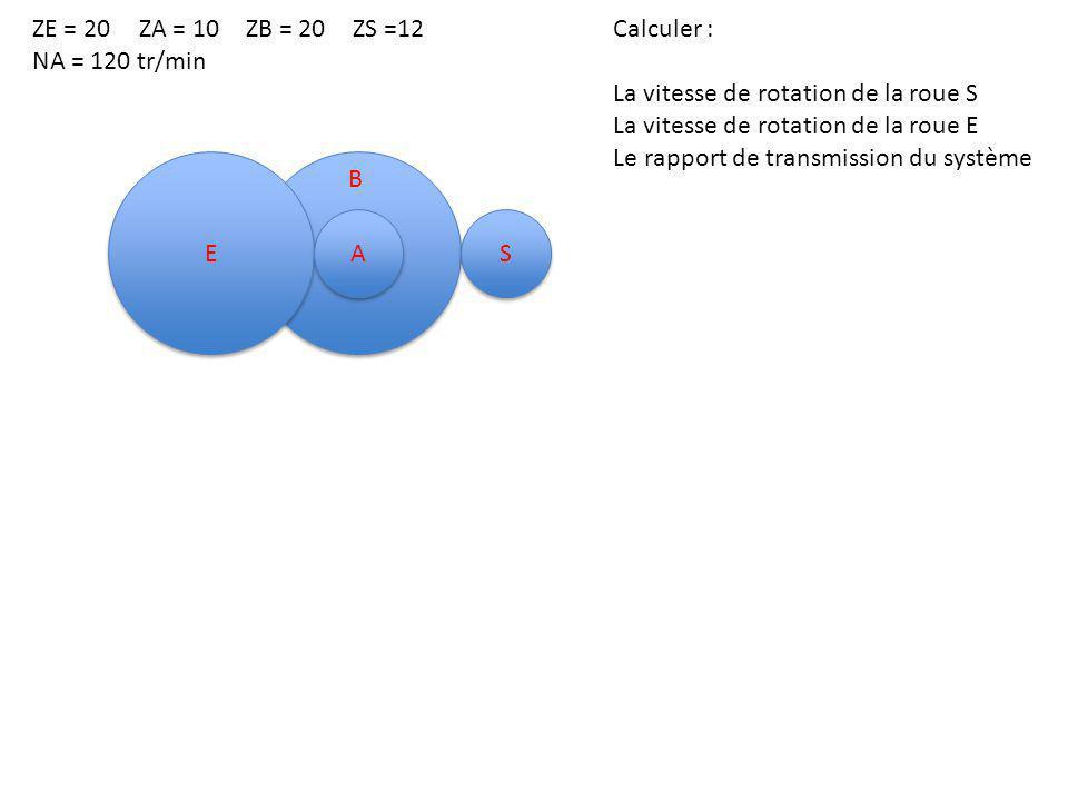 E E A A S S B ZE = 20 ZA = 10 ZB = 20 ZS =12 NA = 120 tr/min Calculer : La vitesse de rotation de la roue S La vitesse de rotation de la roue E Le rapport de transmission du système