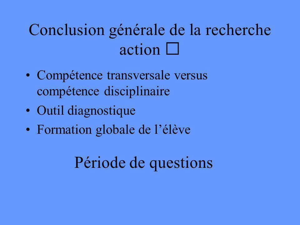 Évaluation 5 Globalement: Les élèves ont-ils de meilleures méthodes de travail ou est-ce le temps qui aide? Chantal et Danielle disent que cest la dém