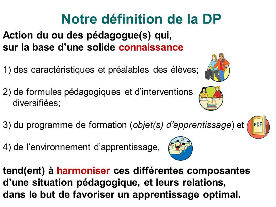 Notre définition de la DP Action du ou des pédagogue(s) qui, sur la base dune solide connaissance 1) des caractéristiques et préalables des élèves; 2)