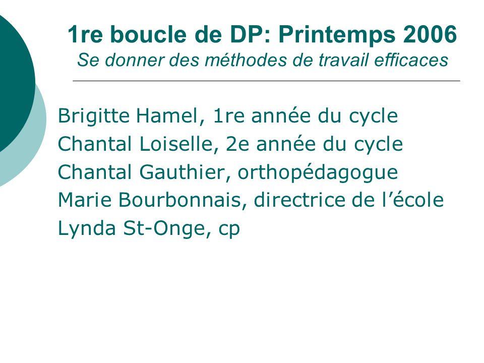 1re boucle de DP: Printemps 2006 Se donner des méthodes de travail efficaces Brigitte Hamel, 1re année du cycle Chantal Loiselle, 2e année du cycle Ch