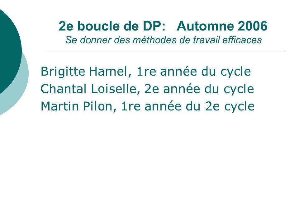 Brigitte Hamel, 1re année du cycle Chantal Loiselle, 2e année du cycle Martin Pilon, 1re année du 2e cycle 2e boucle de DP: Automne 2006 Se donner des