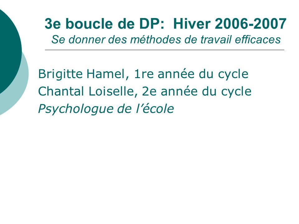 3e boucle de DP: Hiver 2006-2007 Se donner des méthodes de travail efficaces Brigitte Hamel, 1re année du cycle Chantal Loiselle, 2e année du cycle Ps