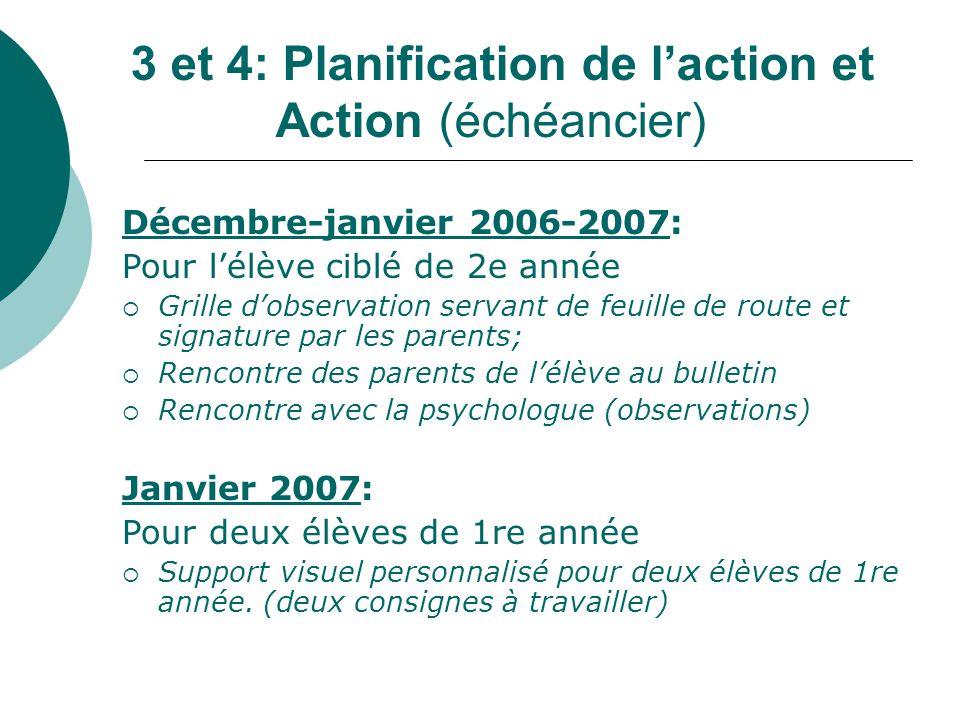 3 et 4: Planification de laction et Action (échéancier) Décembre-janvier 2006-2007: Pour lélève ciblé de 2e année Grille dobservation servant de feuil