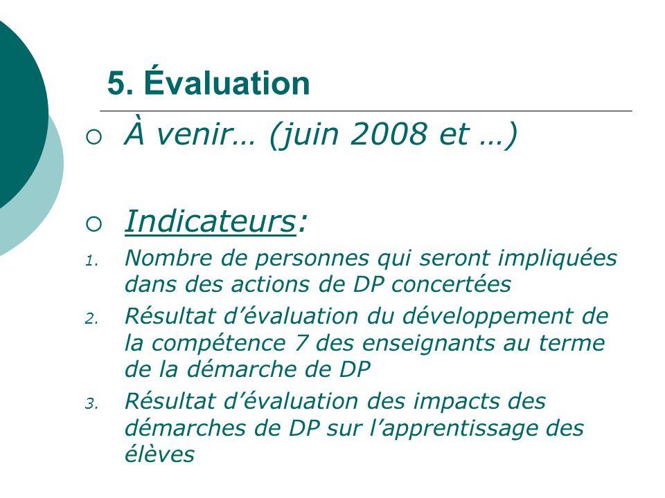 5. Évaluation À venir… (juin 2008 et …) Indicateurs: 1. Nombre de personnes qui seront impliquées dans des actions de DP concertées 2. Résultat dévalu