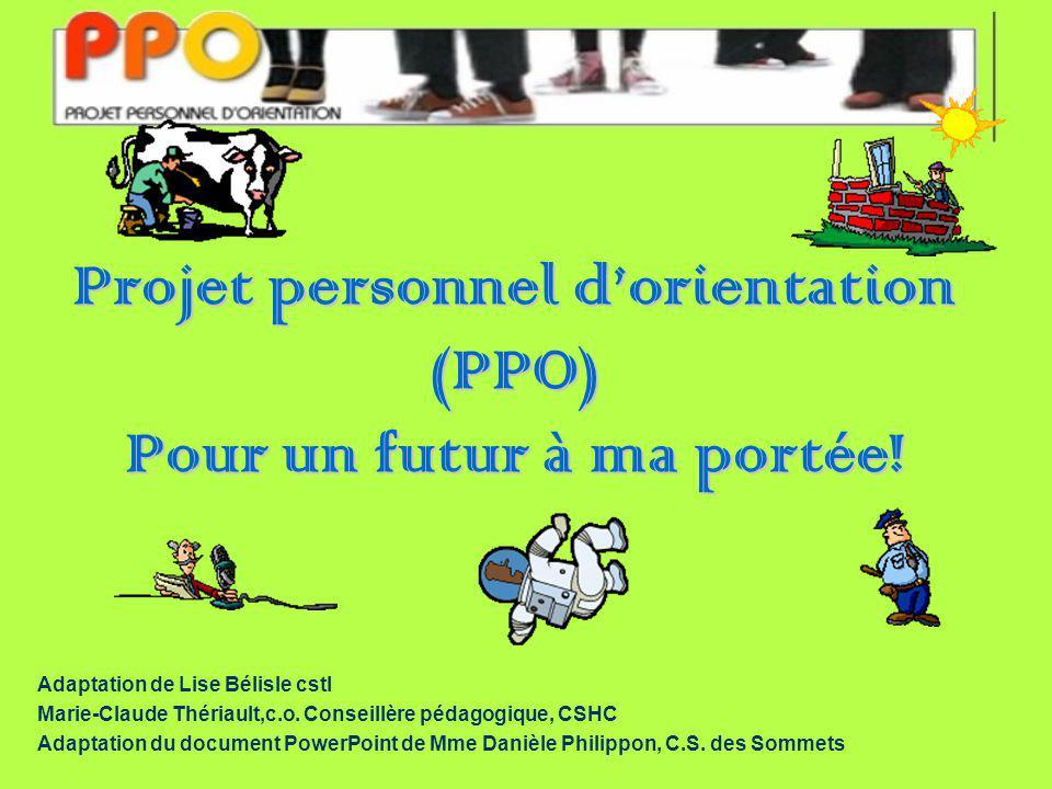 Projet personnel dorientation (PPO) Pour un futur à ma portée.
