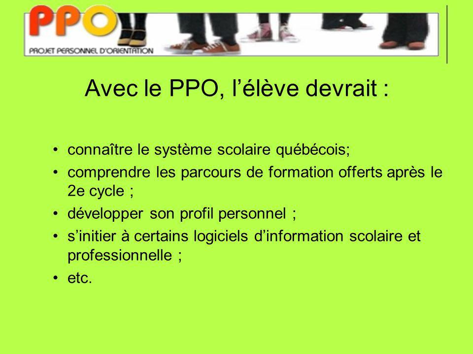 Avec le PPO, lélève devrait : connaître le système scolaire québécois; comprendre les parcours de formation offerts après le 2e cycle ; développer son profil personnel ; sinitier à certains logiciels dinformation scolaire et professionnelle ; etc.