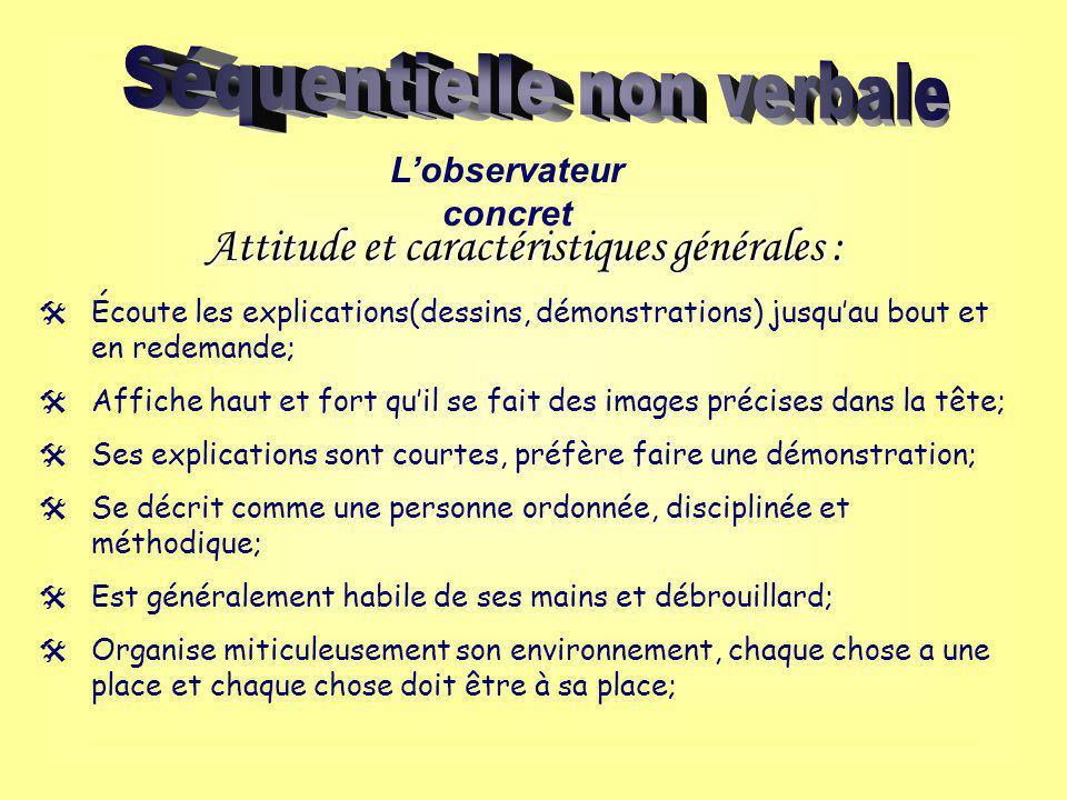 Lobservateur concret Attitude et caractéristiques générales : Écoute les explications(dessins, démonstrations) jusquau bout et en redemande; Affiche h