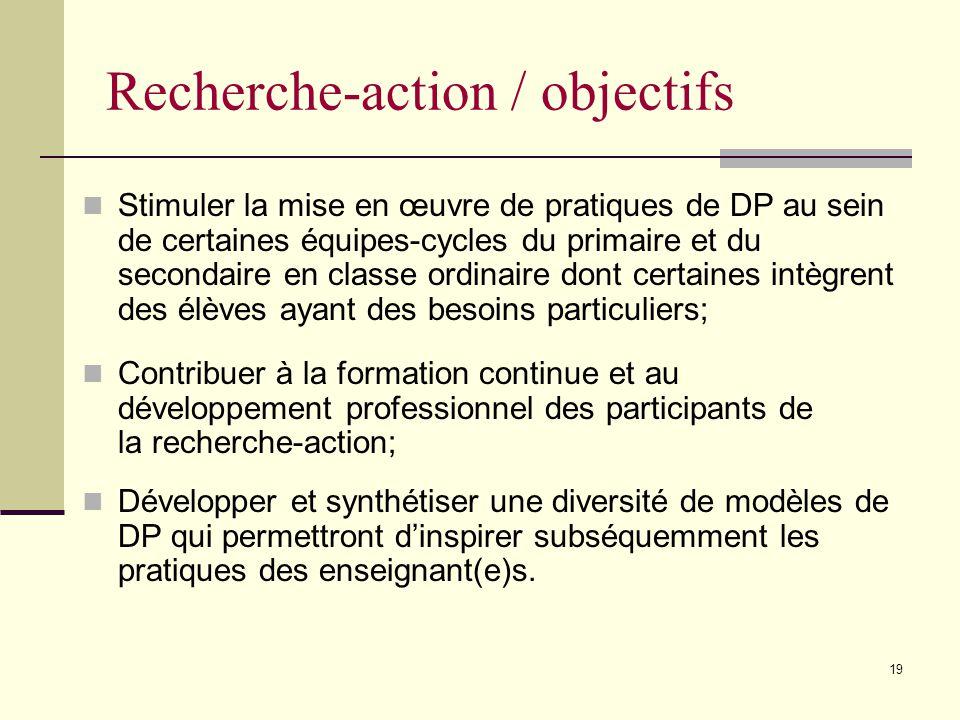 18 Plan de la rencontre Synthèse de modèles de DP expérimentés en Montérégie en 2004-2005 Recherche-action sur la DP Objectifs et structure Vision et finalités de la DP Démarche de DP et illustrations Diffusion Questions / réponses