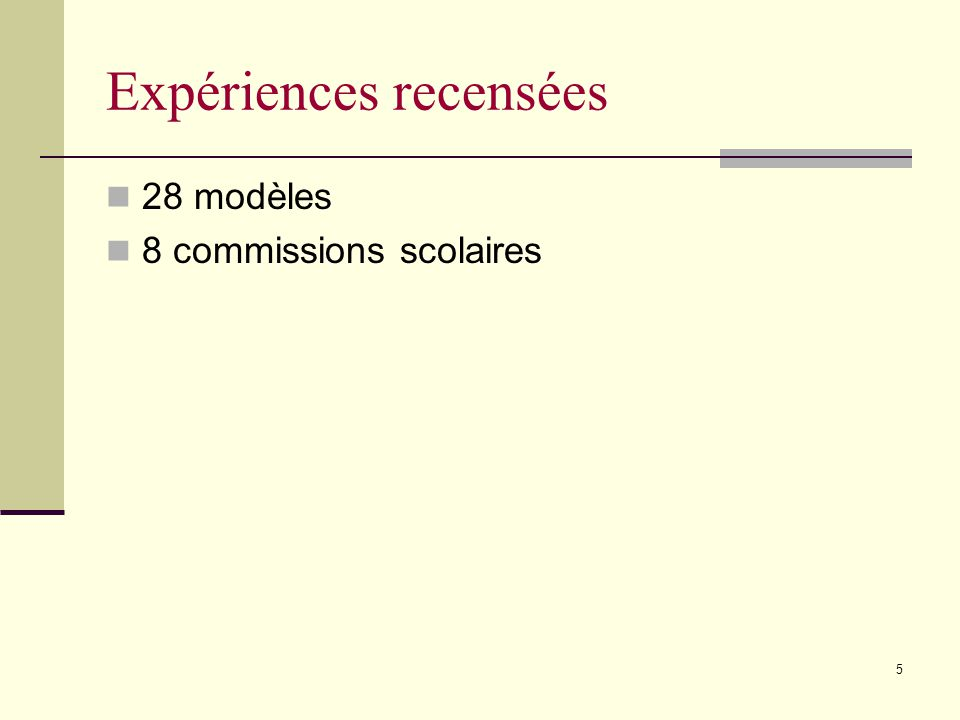 5 Expériences recensées 28 modèles 8 commissions scolaires