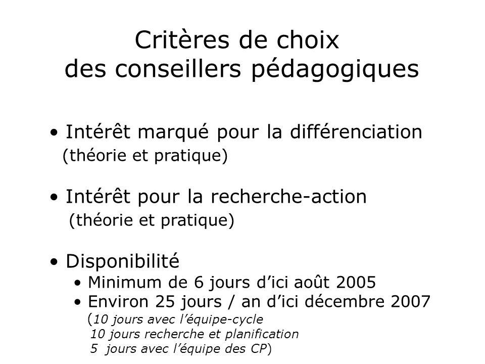 Critères de choix des conseillers pédagogiques Intérêt marqué pour la différenciation (théorie et pratique) Intérêt pour la recherche-action (théorie