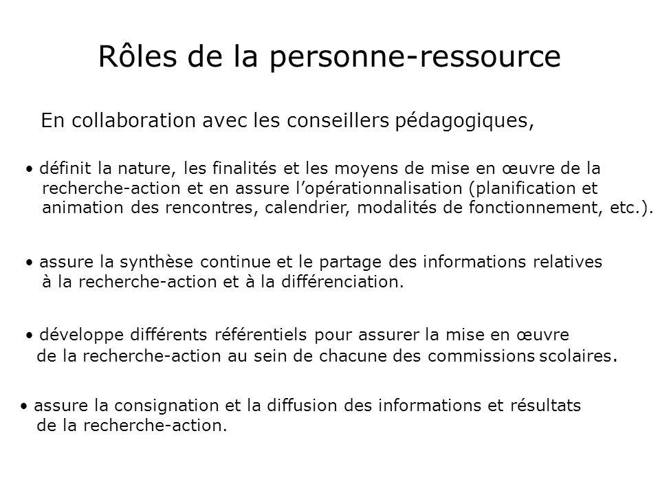 développe différents référentiels pour assurer la mise en œuvre de la recherche-action au sein de sa commission scolaire.