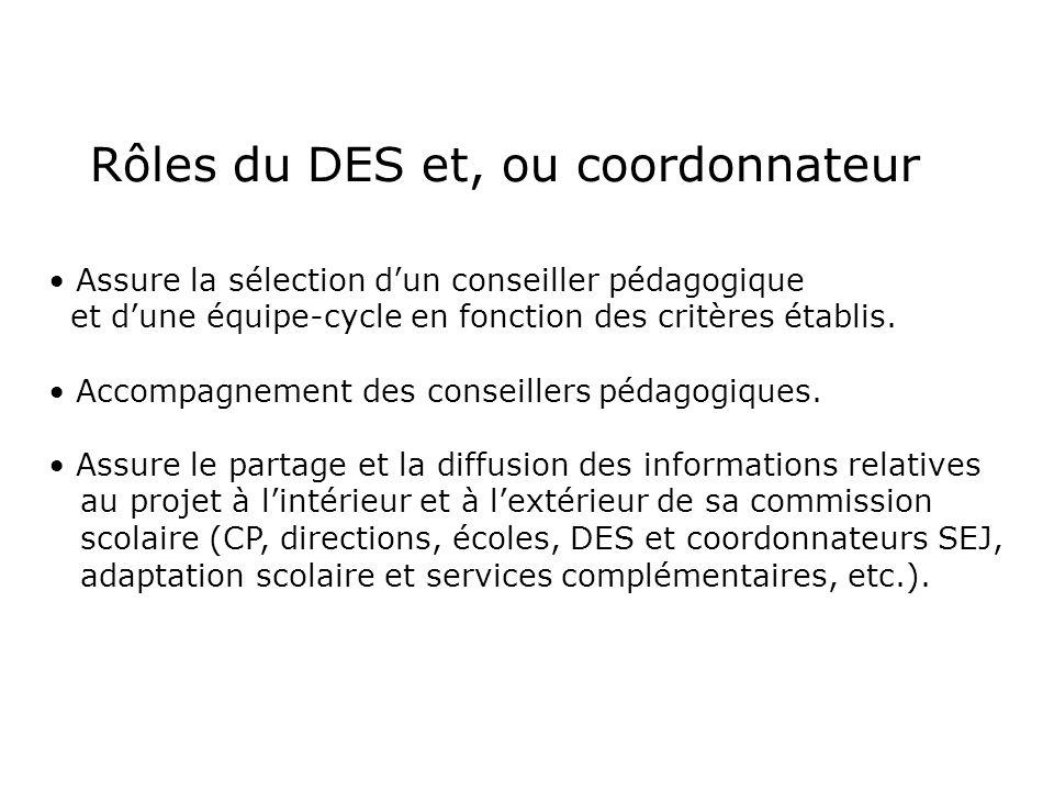 Rôles du DES et, ou coordonnateur Assure la sélection dun conseiller pédagogique et dune équipe-cycle en fonction des critères établis. Accompagnement