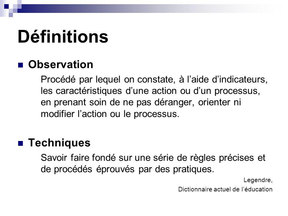 Définitions Observation Procédé par lequel on constate, à laide dindicateurs, les caractéristiques dune action ou dun processus, en prenant soin de ne pas déranger, orienter ni modifier laction ou le processus.
