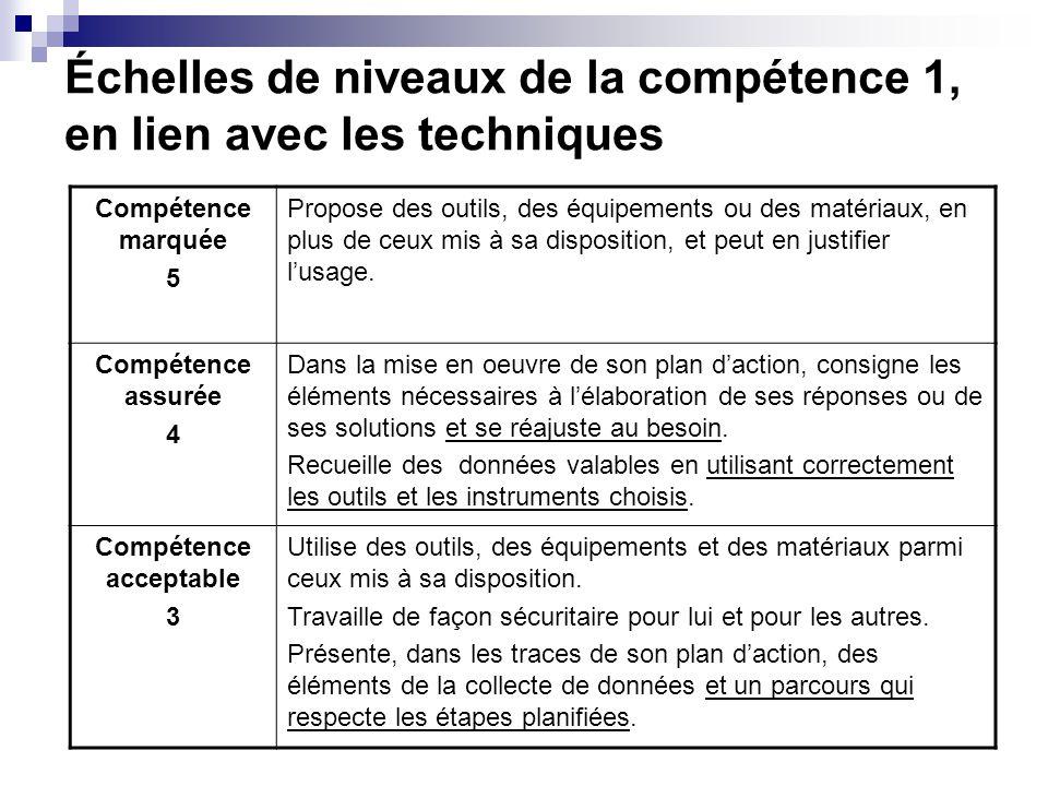 Échelles de niveaux de la compétence 1, en lien avec les techniques Compétence marquée 5 Propose des outils, des équipements ou des matériaux, en plus de ceux mis à sa disposition, et peut en justifier lusage.