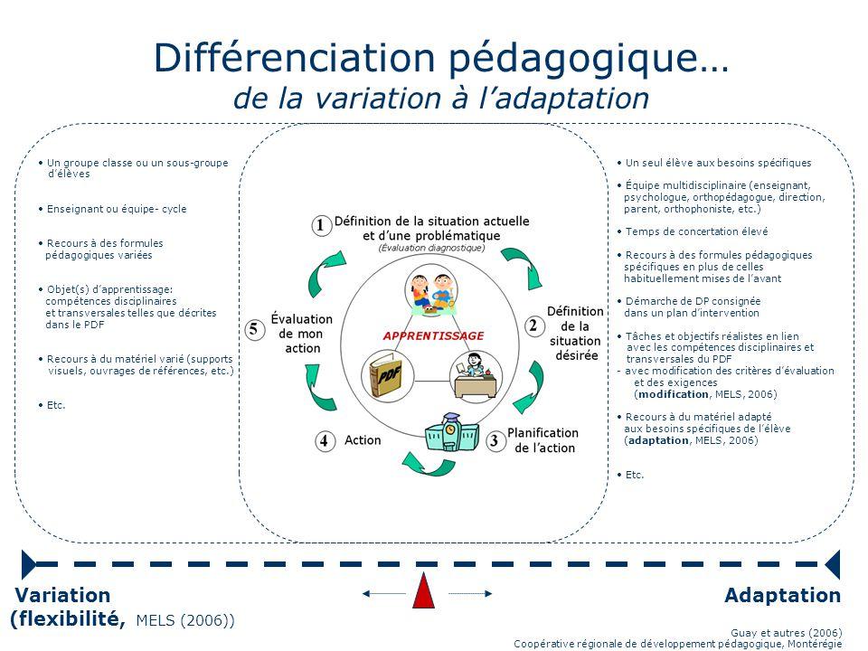 Une démarche de différenciation pédagogique Dans la perspective où la différenciation pédagogique est essentielle à lapprentissage des élèves… Définit