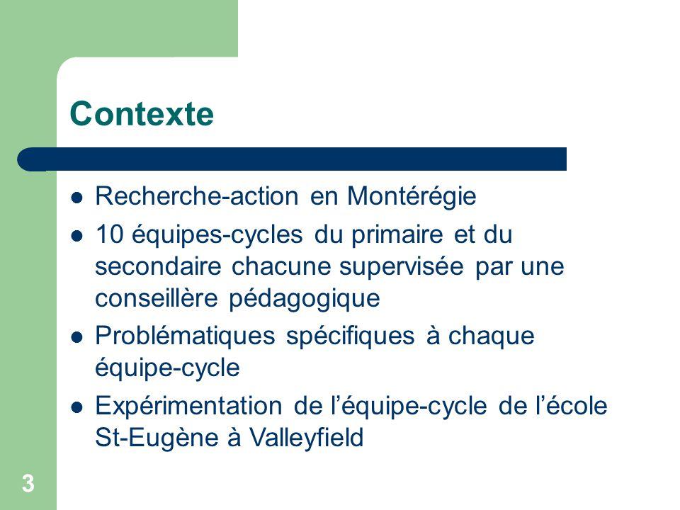 3 Contexte Recherche-action en Montérégie 10 équipes-cycles du primaire et du secondaire chacune supervisée par une conseillère pédagogique Problématiques spécifiques à chaque équipe-cycle Expérimentation de léquipe-cycle de lécole St-Eugène à Valleyfield
