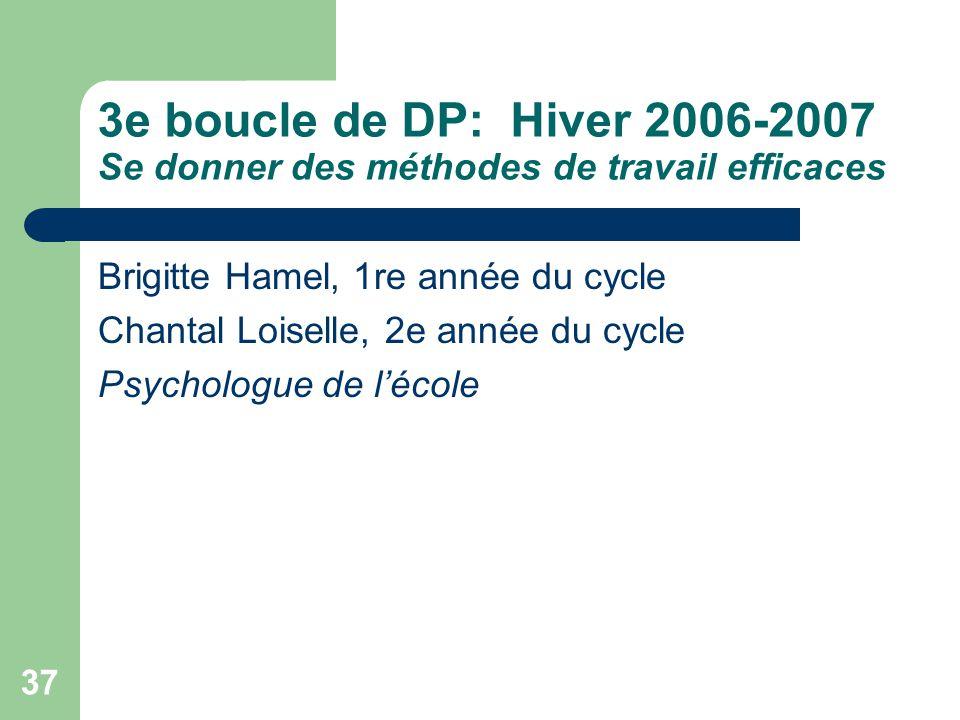 36 5. Évaluation de laction En décembre 2006, on a constaté: Que le support personnalisé suffit à 6 élèves sur 7 en 2e et 3e années; Que plusieurs élè