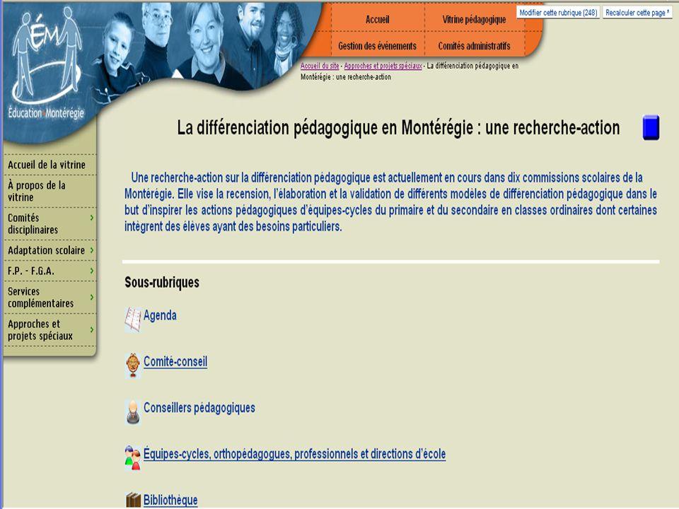 46 Adresse du site http://vitrine.educationmonteregie.qc.ca Rubrique: Approches et projets spéciaux