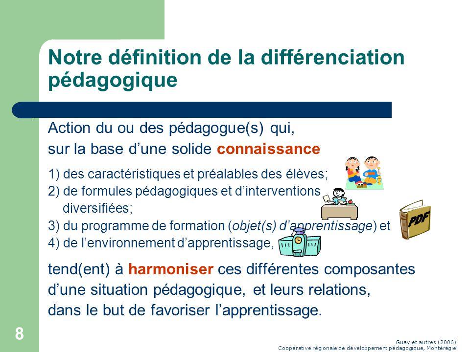 8 Notre définition de la différenciation pédagogique Action du ou des pédagogue(s) qui, sur la base dune solide connaissance 1) des caractéristiques et préalables des élèves; 2) de formules pédagogiques et dinterventions diversifiées; 3) du programme de formation (objet(s) dapprentissage) et 4) de lenvironnement dapprentissage, tend(ent) à harmoniser ces différentes composantes dune situation pédagogique, et leurs relations, dans le but de favoriser lapprentissage.