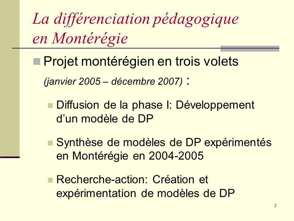 1 Projet La différenciation pédagogique en Montérégie: États des travaux Marie-Hélène Guay 10 février 2006