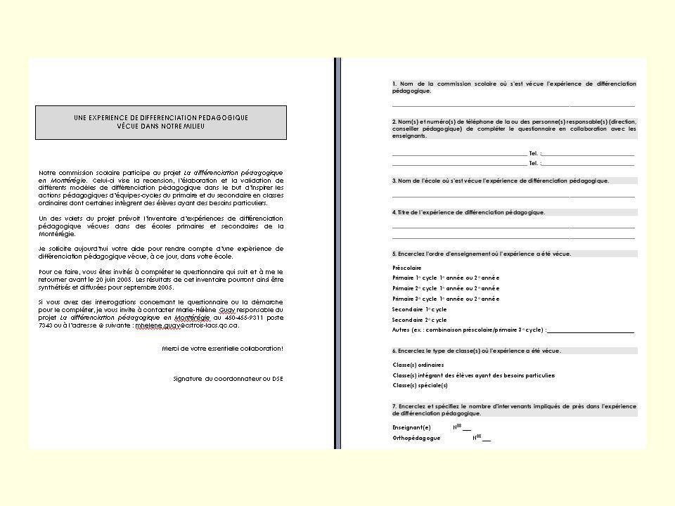 3 Plan de lexposé Synthèse de modèles de DP vécus en Montérégie en 2004-2005 (Volet 2) Aperçu des travaux relatifs à la création et à lexpérimentation de modèles de DP (Volet 3) Léquipe des CP responsables Les équipes-cycles Diffusion Problèmes spécifiques / apport DES, coordonnateurs Questions / réponses