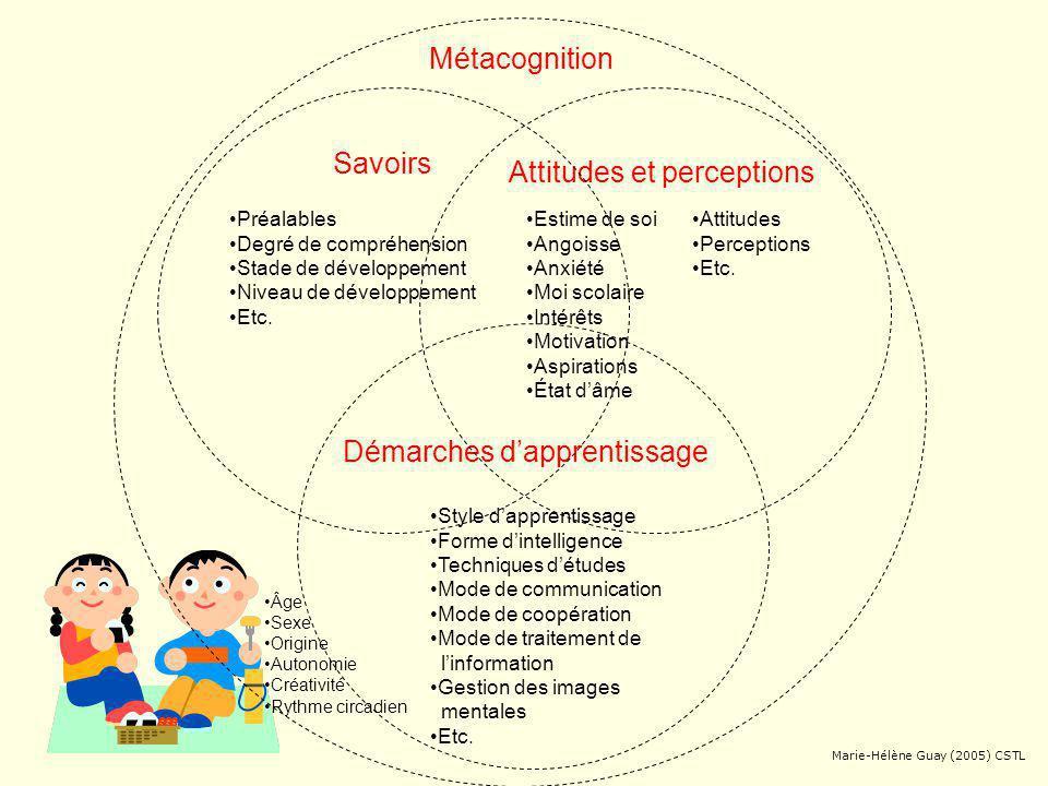 Attitudes et perceptions Démarches dapprentissage Métacognition Savoirs Guay (2005) inspiré de Daneault (2005), Scallon (2004) et C.S.