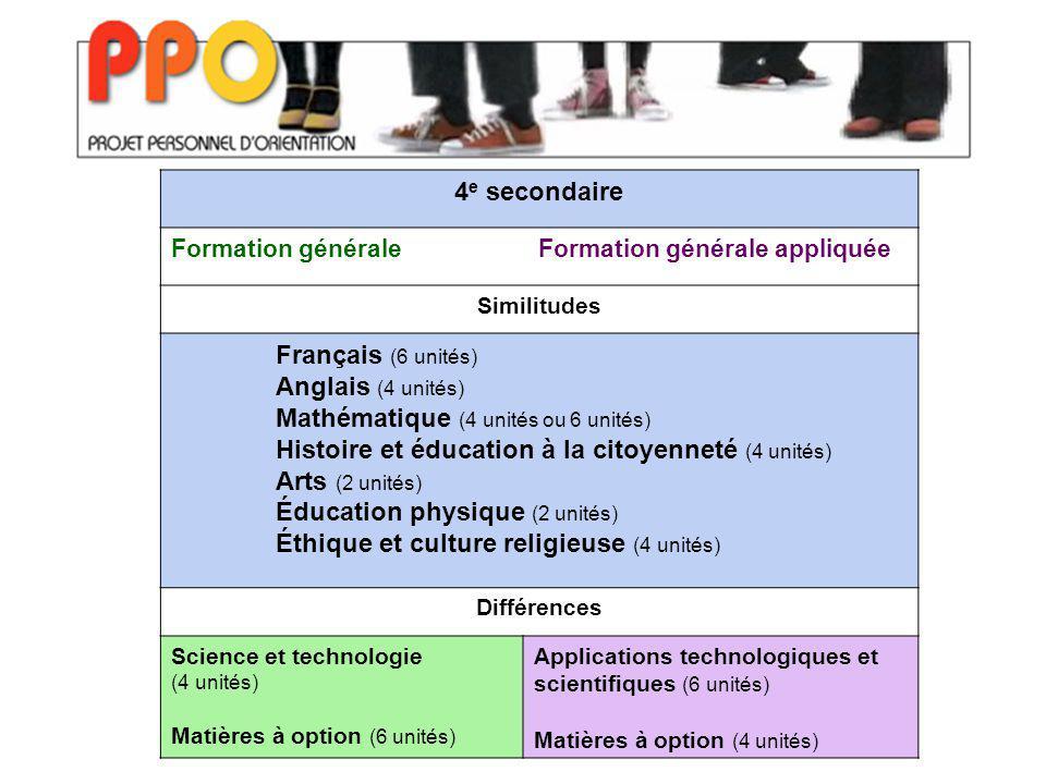 4 e secondaire Formation générale Formation générale appliquée Similitudes Français (6 unités) Anglais (4 unités) Mathématique (4 unités ou 6 unités)