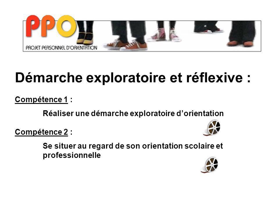 Démarche exploratoire et réflexive : Compétence 1 : Réaliser une démarche exploratoire dorientation Compétence 2 : Se situer au regard de son orientation scolaire et professionnelle