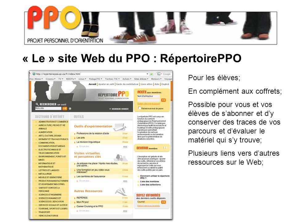« Le » site Web du PPO : RépertoirePPO Pour les élèves; En complément aux coffrets; Possible pour vous et vos élèves de sabonner et dy conserver des t