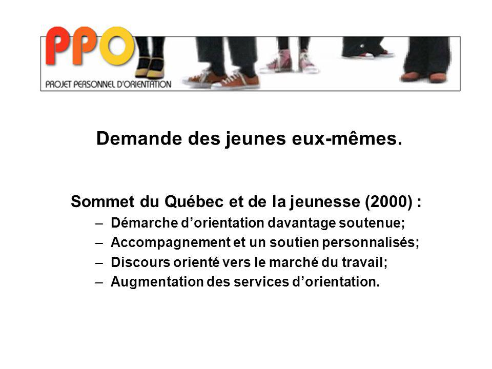 Sommet du Québec et de la jeunesse (2000) : –Démarche dorientation davantage soutenue; –Accompagnement et un soutien personnalisés; –Discours orienté vers le marché du travail; –Augmentation des services dorientation.