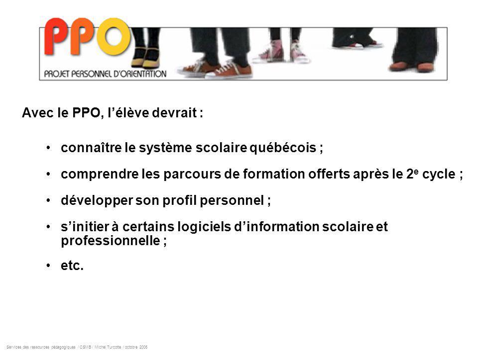 Avec le PPO, lélève devrait : connaître le système scolaire québécois ; comprendre les parcours de formation offerts après le 2 e cycle ; développer son profil personnel ; sinitier à certains logiciels dinformation scolaire et professionnelle ; etc.