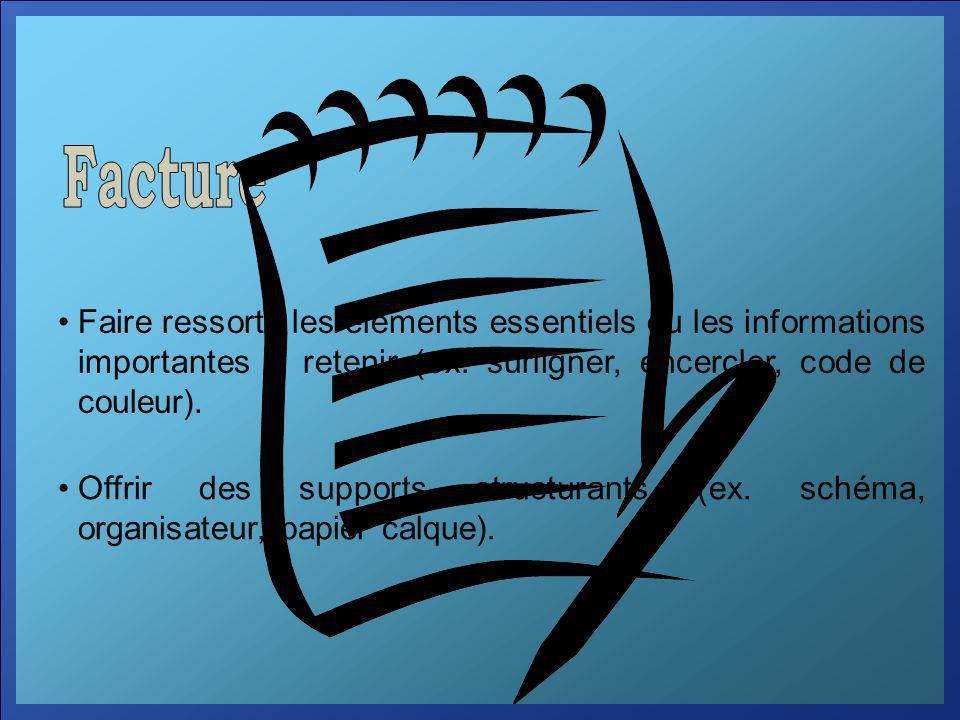 Faire ressortir les éléments essentiels ou les informations importantes à retenir (ex. surligner, encercler, code de couleur). Offrir des supports str